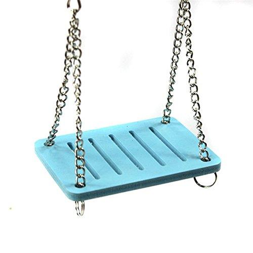 TOOGOO Hamster Toys Swing Hanging Gadget Jaula de madera Accesorios Suministros Amuse Mouse azul