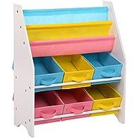 SONGMICS Scaffale per Giocattoli Mobiletto Multi-Ripiano per Bambini con Ceste in Tessuto non Tessuto Rimovibili Multicolore per Libri e Riviste GKR36WT, 63 x 26,5 x 74 cm