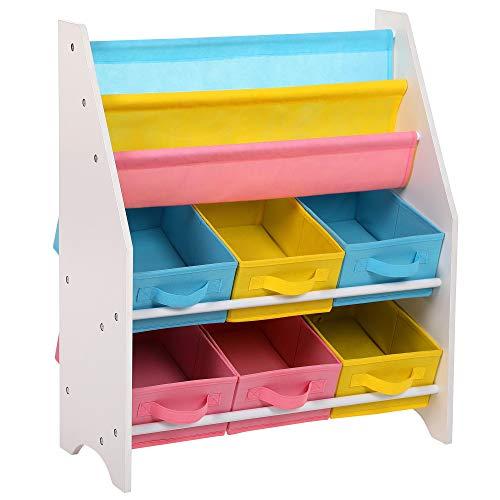 Songmics scaffale per giocattoli mobiletto multi-ripiano per bambini con ceste in tessuto non tessuto rimovibili multicolore per libri e riviste gkr36wt