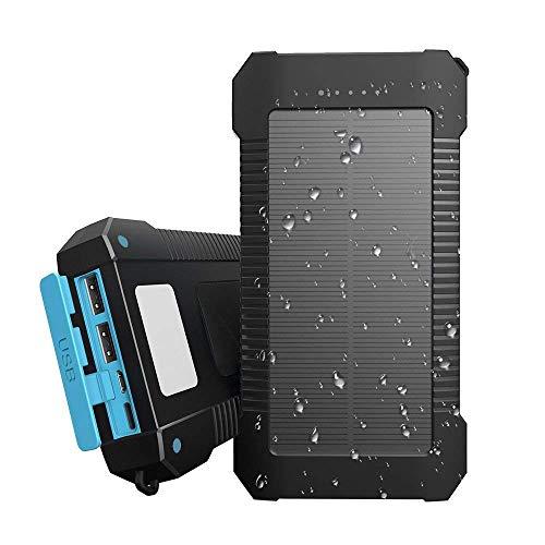 Innoo Tech Cargador Solar 20000mAh,Power Bank portátil con Batería Externa y Protección IP65(a Prueba de Golpes,Agua,Polvo),Indicadores y Linterna LED para teléfono Android,Apple,Altavoces