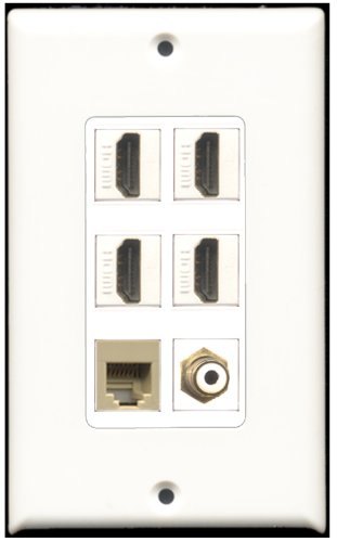 RiteAV-4-Port HDMI-1RCA weiß 1RJ11, RJ12, beige Wall Plate Dekorative 4 Port, Single Gang Keystone