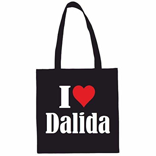 Sac à Bandoulière I Love Dalida Shopping Bag Sac d'école Sac de Sport 38x 42cm en Noir ou Blanc.. Le cadeau parfait pour votre amoureux