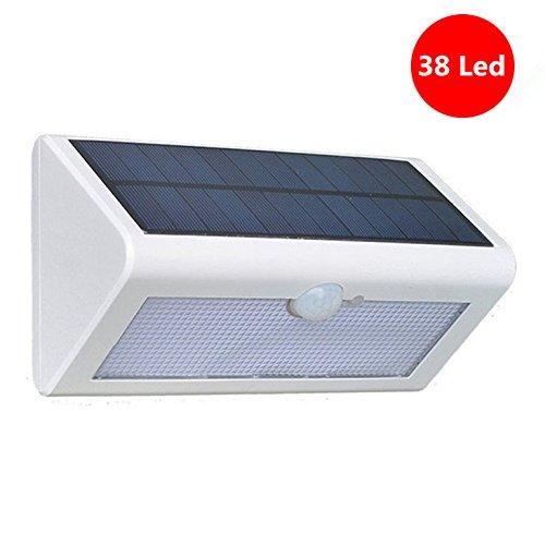 JIAFENG Solar Wandleuchten mit Bewegungsmelder 500 Lumen Super Helle Solar Betriebener Aussenleuchten IP65 Wasserdicht Drahtlos 38 Stücke LED für Wände, Garten, Multimode[Energieklasse A++] (warmweiß-weiß)