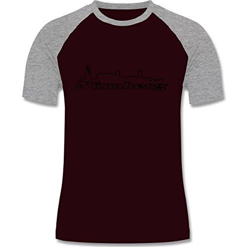 Skyline - Nürnberg Skyline - zweifarbiges Baseballshirt für Männer Burgundrot/Grau meliert