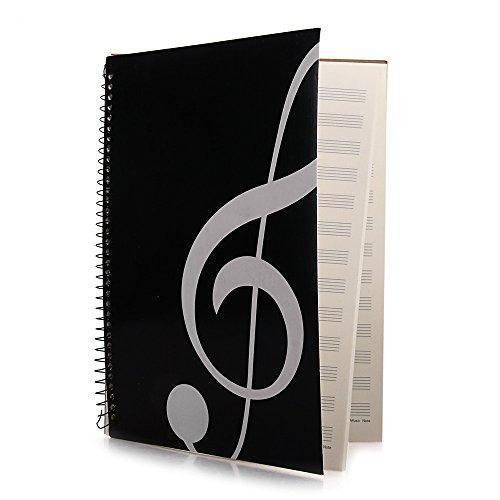 FACILLA® Cahier de musique portées partition manuscrit A4 à spirales 40 pages noir