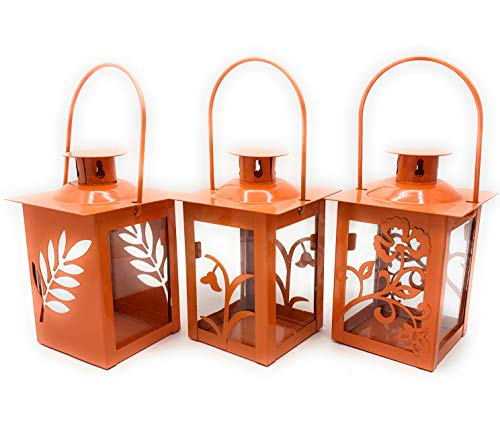 GILDE Kleine Laterne im 3er Set Orange Blumen Blätter Design