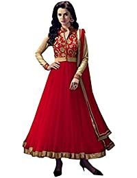 Rensil Women's Banglori Silk & Net Anarkali (RIEV_Angel Red Anarkali_Red & Beige_Free Size)