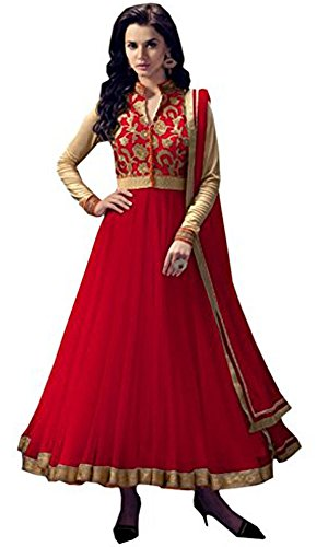 Women's Clothing Anarkali Suit Designer Party Wear Today Offers Low Price Sale Top Red Color Banglori Silk Fabric Free Size Salwar Kameez Dress  available at amazon for Rs.499
