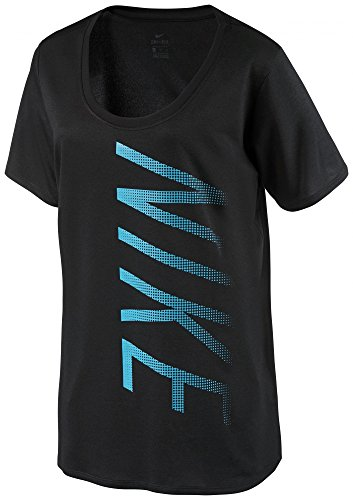 Nike Dry Leg Scoop Shirt, Damen M Schwarz (T-shirt Tee Ausgestattet)
