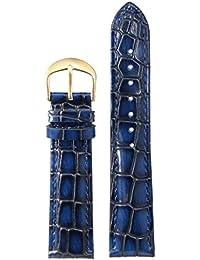 22mm poignet de luxe en cuir premium bleu montre remplacement bracelet bracelet pour hommes véritable grain de veau italien crocodile lourd
