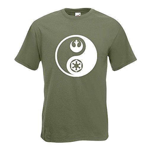 KIWISTAR - Jedi Sith - Yin und Yang T-Shirt in 15 verschiedenen Farben - Herren Funshirt bedruckt Design Sprüche Spruch Motive Oberteil Baumwolle Print Größe S M L XL XXL Olive