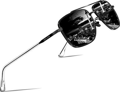 SIPLION Herren Polarisiert Sonnenbrille Pilotenbrille Fahrerbrille Verspiegelt UV400 (ALL-BLACK 6055)