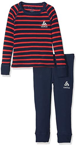 Odlo Kinder Active Originals Warm Kids Unterwäscheset, Diving Navy/Hibiscus/Stripes, 116