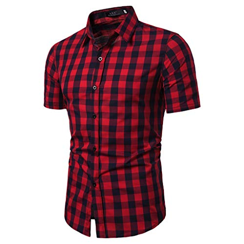 BHYDRY Herren Gitter Spleißen Muster Lässige Mode Revers Kurzarm Shirt -