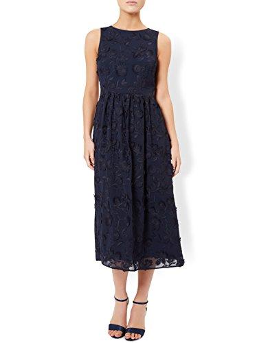 Monsoon Robe mi-longue brodée de fleurs Bernise - Femme Bleu Marine