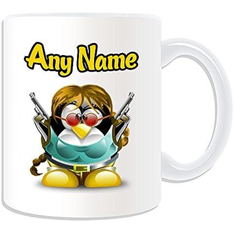 Personalizado Regalo–Taza de Lara Croft (pingüino), diseño de personaje Tema, Blanco)–Cualquier Nombre/Mensaje en tu único–Disfraz Movie Superhero Hero Tomb Raider
