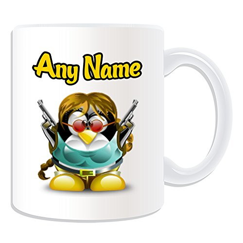 Personalisiertes Geschenk–Lara Croft Tasse (Pinguin Film Charakter Design Thema, weiß)–Jeder Name/Nachricht auf Ihre Einzigartiges–Kostüm Film Superheld Hero Tomb Raider