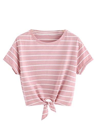 ROMWE Damen Gestreift Crop Top Kurzarm Streifen Shirt Rosa M