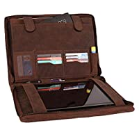 Supreme Business Portfolio By Rustic Town | Professional Organizer Gift for Men & Women | Durable Leather Padfolio | Easy To Carry With A Zippered Closure | Many Slots, Compartments & Holders