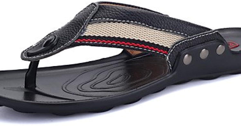 NTX/hombres de zapatos chanclas de piel Casual negro/azul