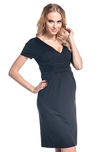 Happy Mama Damen Mutterschaft Dehnbar Jersey Krankenpflege Kleid Kurz Hülle 573p (Schwarz, EU 38, M) - Mutterschaft Krankenpflege Kleid