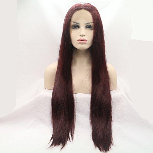 Aspect naturel 99J Rouge foncé soyeux droites synthétiques Lace Front Perruques Couleur Vin Rouge haute qualité résistant à la chaleur Fibre Cheveux Perruques