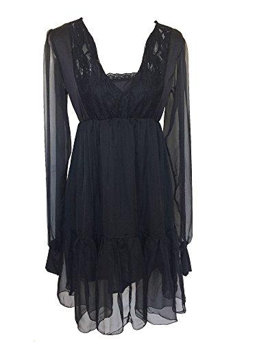Kleid Plus Steampunk Size (Gothic Rockabilly Damen Empire Kleid schwarz schwarz Gr. 50,)