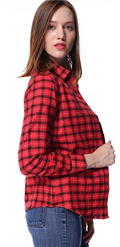 Dioufond Classics Damen Slim Kariert Bluse Freizeit Hemd Baumwolle Plaid Shirt Rot