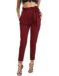 ISASSY Damen Hosen Elegant Hohe Taille elastische Hosen Stretch Chiffon Skinny Pants Casual Streetwear Hosen mit Tunnelzug