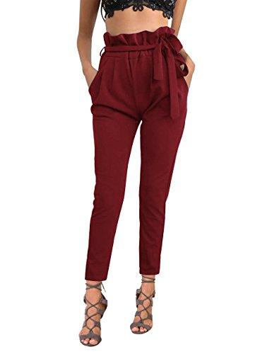 ISASSY Women's Casual Harem Pencil Pants Elastic Stretch High Waist Slim Straight Leg Capris OL Trousers with Belt Wine Red M(UK8-10)/(EU38-40)