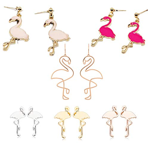 Niedlich Kostüm Paare - PPX 6 Paare Rosa Flamingo Ohrring - niedlicher Ohrring - Leichte Mode moderner Stil Kostüm Ohrring für Frauen und Mädchen (6 Paare/Set)
