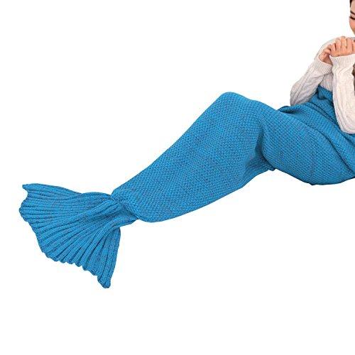 KekeHouse® Automne Hiver Mermaid Blanket De Laine Tricot Blanket Couverture Pour Adult Bleu A