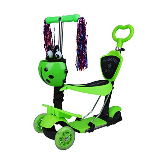 GRXXX Dreirädriger Roller der Kinder einziehbarer PU-Blitz-Rad-Roller fünf in einem mit Korb mit Pedal,Green-OneSize