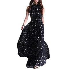Idea Regalo - TOOGOO(R) Vestito lungo maxi da donna in chiffon da donna senza maniche con cintura Nero