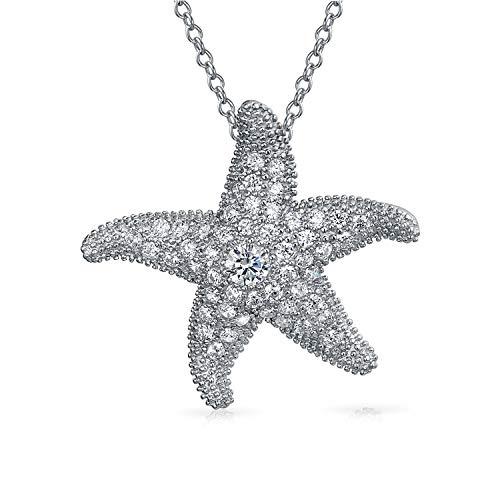 Bling Jewelry Große Ebnen Zirkonia Cz Nautische Strand Seestern Anhänger Mit Halskette Für Frauen Freundin 925 Sterling Silber - Weihnachten Nautische