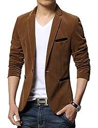 20bed5f7b3de HX fashion Herren Blazer Slim Fit Revers Knopfverschluss Sakkos Freizeit  Anzug Bequeme Größen Kordsamt Business Einfarbig