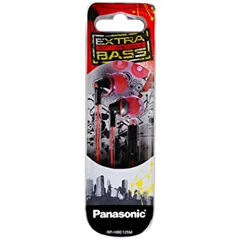 Panasonic - RP-HBE125M Extra Bass Earphones w/Mic - Universally Compatible