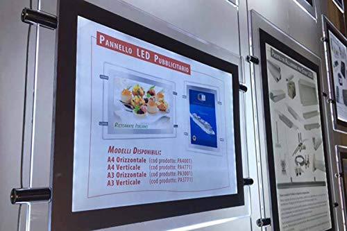 Espositore bacheca pubblicita per vetrine con pannello plexiglass led luminoso a4 orizzontale sistema a sospensione agenzia immobiliare