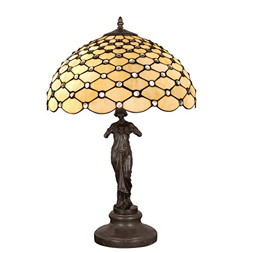 Bronze Tiffany Tischlampe (Arte Dal Mondo Gemme Tisch- & Nachttischlampen, Bronze, E27)