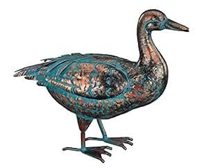 """Creekwood–Regal Gifts–40cm Oiseaux en métal Revêtement poudre haute Statue/Décoration (patine Canard """"Looking Up)"""