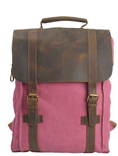 MatchLife Unsexi Vintage Canvas Rucksack Leder Tagesrucksack Style2 Grün Style1-Rosa