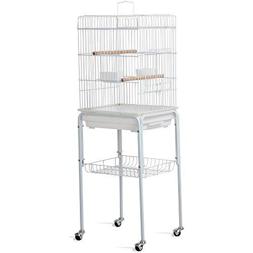 Yaheetech Vogelkäfig Vogelvoliere Käfig für Wellensittiche Kanarien, Vogelvorliere Vogelhaus mit Abnehmbare Ständer,2 Sitzstangen