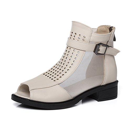 QIDI-sandalen Sommersaison Frau Schwarz Blau Braun Weiß Zehe Öffnen rutschfest Low-Heels Einzelne Schuhe (Farbe : Weiß, größe : EU36/UK3.5)