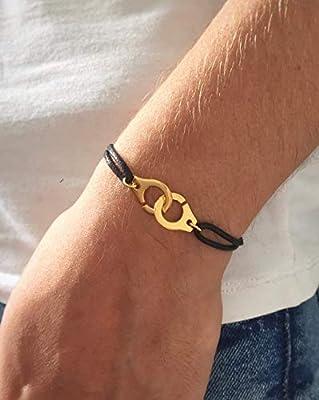 Bracelet menottes Dorées, monté sur un cordon