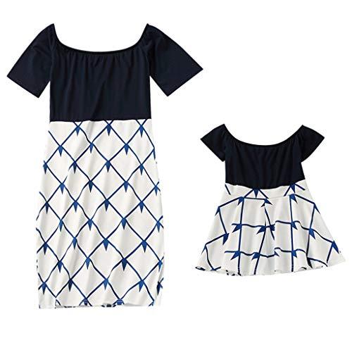 Kind Kleid Familie passende Outfits Mama & Ich Kind Kurzarm O-Ausschnitt Spleißen Rock Familie Kleidung Kleid ()