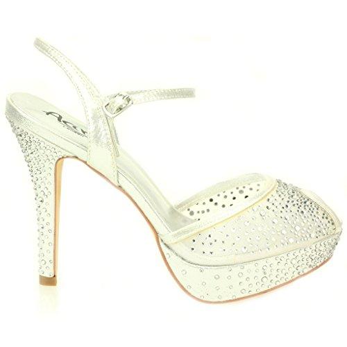 Femmes Dames Soir Mariage Fête Talon haut Plateforme Diamante De mariée Des sandales Chaussures Taille Argent