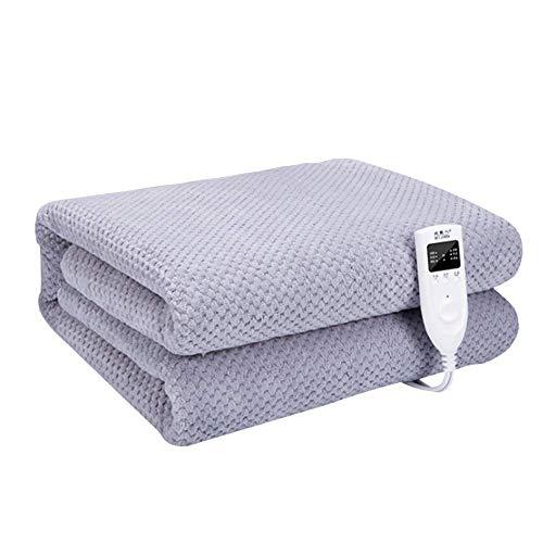 Authda Plüsch Wärmeunterbett Soft Heizdecke mit Abschaltautomatik und Überhitzungsschutz Wärmebett Timer (200 x 180 cm, Grau)