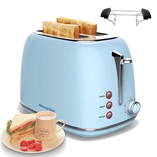 Toaster Edelstahl 2 Scheiben, morpilot Toaster mit Abnehmbarem Brötchenaufsatz und Herausnehmbarer Krümelschublade, 6 Bräunungsstufen Auftaufunktion Aufwärmfunktion, 815W, Blau