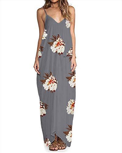 ZANZEA Sommerkleid Damen Ärmellose Maxikleid Blumen Langes Kleid V Ausschnitt Strandkleid Trägerkleid Casual B16098-Grau EU 46