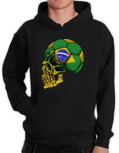 Green Turtle T-Shirts Brasilien Flag Weltmeisterschaft Schädel Schwarz XX-Large Kapuzenpullover Hoodie (Brasilien-flag Shirt)
